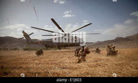 Afghan National Security Forces (ANSF) soldiers and U.S. Marines with Fox Company, 2nd Battalion, 8th Marine Regiment, - Stock Photo