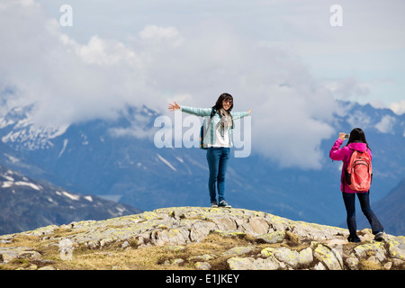 Tourists on the Plan de l'Aiguille in the French Alps, Chamonix, France - Stock Photo