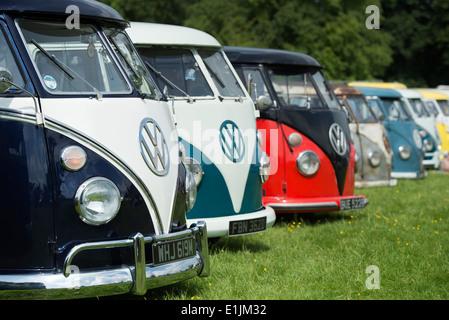 Line of VW Split Screen Volkswagen camper vans at a VW show. England - Stock Photo
