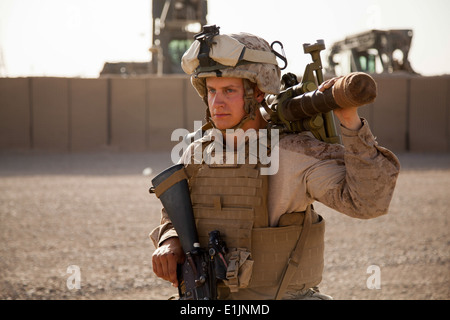 U.S. Marine Corps Lance Cpl. Jonathan Robertson, a mortarman with Fox Company, 2nd Battalion, 8th Marine Regiment, - Stock Photo
