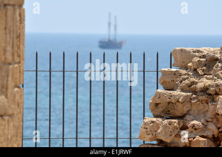 Ghost ship viewed from Paphos Castle, Cyprus. The ship is the Jolly Roger II which takes tourists out for a for - Stock Photo