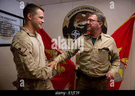 U.S. Marine Corps Sgt. Joshua Moore, left, a scout sniper team leader with 2nd Battalion, 8th Marine Regiment, shakes - Stock Photo