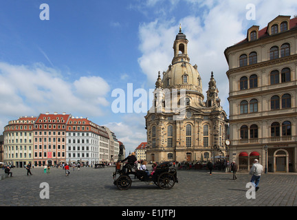 The Neumarkt in Dresden with the rebuilt Frauenkirche,which was destroyed in the bombing of Dresden during World - Stock Photo
