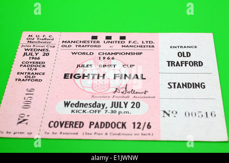 Original 1966 World Cup tickets for the Eighth Final match - Hungary V Bulgaria on a green background