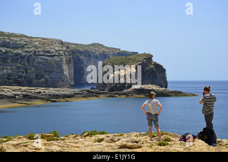 Fungus Rock, Dwejra Bay, Dwejra, Gozo (Għawdex), Gozo and Comino District, Gozo Region, Republic of Malta - Stock Photo