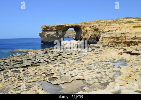 Azure Window, Dwejra, Gozo (Għawdex), Gozo and Comino District, Gozo Region, Republic of Malta - Stock Photo