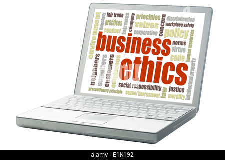 business ethics concept - a related word cloud on an isolated laptop - Stock Photo