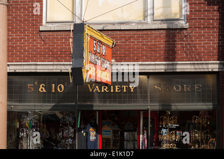 Front of an old 5&10 cent store. The signs at the front of an old style variety store in Alexandria Bay. - Stock Photo