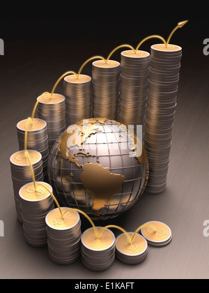 Coins and metal globe computer artwork. - Stock Photo