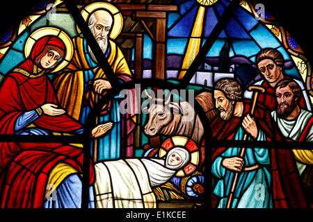 Stained glass window depicting the Nativity, Holy Trinity Cathedral - Stock Photo