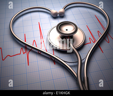 Stethoscope in the shape of a heart and cardiograph. - Stock Photo