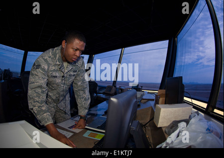 U.S. Air Force Senior Airman Brandon Cohen, an air traffic controller with the 97th Operations Support Squadron, - Stock Photo