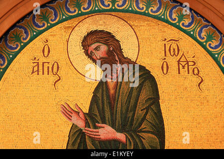 Greek orthodox icon depicting Saint John the Baptist - Stock Photo