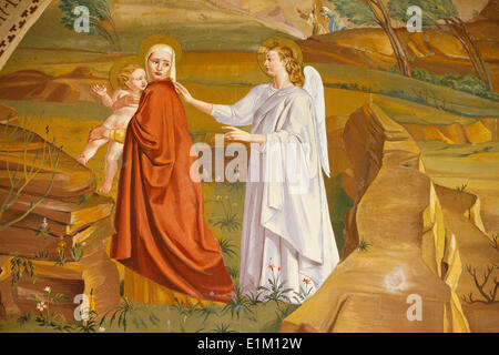 Painting in the Visitation church in Ein Kerem : the Massacre of the Innocents ordered by Herod - Stock Photo