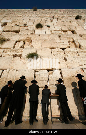 Ultra-orthodox Jewish men pray at the Western Wall in the Old City of Jerusalem - Stock Photo