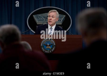 Secretary of the U.S. Navy Ray Mabus briefs the press at the Pentagon in Arlington, Va., Dec. 20, 2013. (DoD photo - Stock Photo