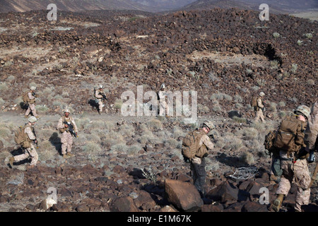 U.S. Marines assigned to Battalion Landing Team, 1st Battalion, 4th Marine Regiment, 13th Marine Expeditionary Unit - Stock Photo