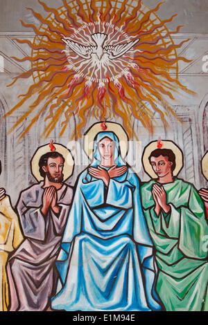 Painting in Our Lady of Togo church : Holy Spirit, Virgin Mary & disciples - Stock Photo