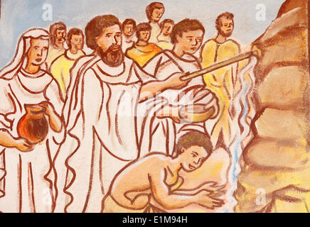 Painting in Our Lady of Togo church : Moses and the rock of Horeb.( Exodus 17, 1 3) - Stock Photo