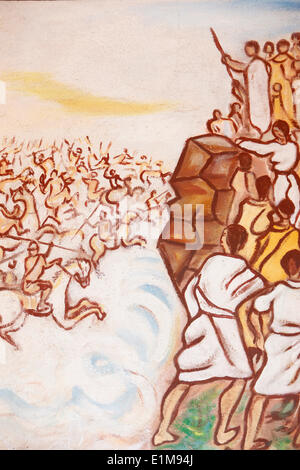 Painting in Our Lady of Togo church : Hebrews crossing the Red Sea - Stock Photo