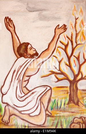Painting in Our Lady of Togo church : The burning bush - Stock Photo