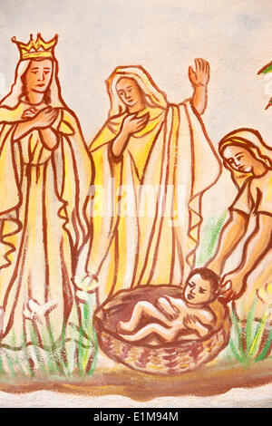 Painting in Our Lady of Togo church : Moses saved - Stock Photo