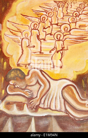 Painting in Our Lady of Togo church : Jacob's ladder - Stock Photo