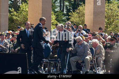 Colleville, Normandy, France. 6th June, President Barack Obama honours the veternas during the  D-Day Anniversary - Stock Photo