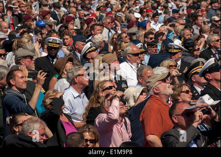 Colleville, Normandy, France. 6th June, D-Day Anniversary Ceremonies, Aerial View of Audience Crowd Scene - Stock Photo