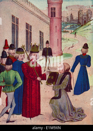 Sir John Froissart presenting his book of love poems to Richard II in 1395. - Stock Photo