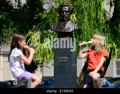Prague, Czech Republic. 06th June, 2014. Monument of Alexandr Sergejevich Pushkin on occassion of his 215 anniversary - Stock Photo