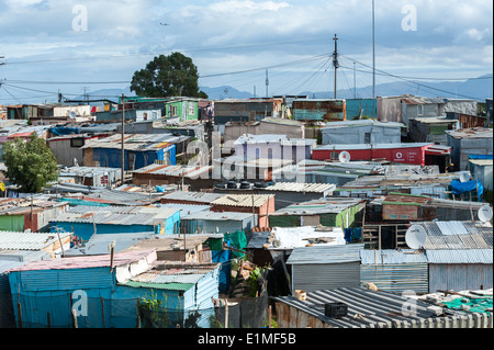 Colony of corrugated iron sheds in Khayelitsha, Cape Town, South Africa - Stock Photo