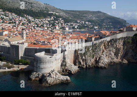 Croatia, Dubrovnik, Old Town, Fort Bokar (round structure in front) - Stock Photo