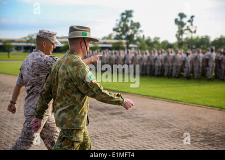 U.S. Marine Corps Lt. Col. Keven Matthews, left, the commanding officer of Marine Rotational Force-Darwin, and Australian - Stock Photo