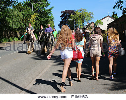 Appleby-in-Westmorland, Cumbria, UK. 6th June 2014. People enjoying the annual event of Appleby Horse Fair, one - Stock Photo