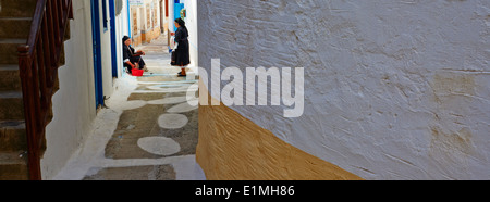 Greece, Dodecanese, Karpathos island, Olympos, local woman - Stock Photo