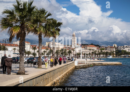 view of split riva in croatia from the sea front at matejuska showing the tower of the cathedral of st domnius in the background