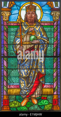 Roznava - St. Stephen - king of Hungary from windowpane from 19. cent. in the cathedral of Assumption of Virgin - Stock Photo