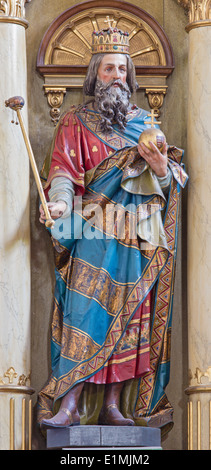 ROZNAVA, SLOVAKIA - APRIL 19, 2014: Carved statue of st. Ladislaus - king of Hungary from main altar of in st. Ann - Stock Photo