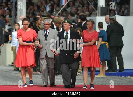 Normandy, France. 6th June, 2014. Veterans attend a ceremony marking 70th anniversary of D-Day landings, in Sword - Stock Photo