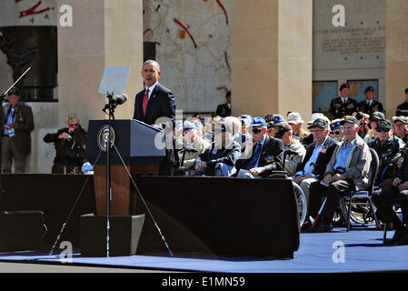 US President Barack Obama speaks to WWII veterans and others gathered to commemoration the 70th anniversary of the - Stock Photo