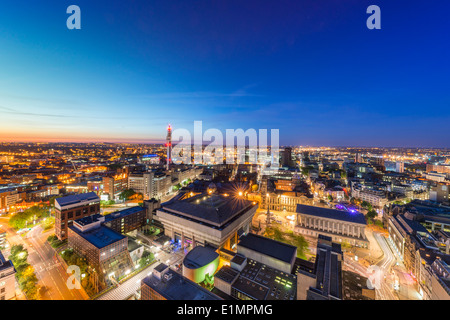 A night view of Birmingham city centre at night. - Stock Photo