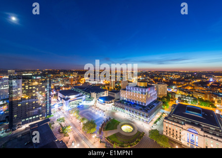 A night view of Birmingham city centre at night, showing Centenary Square and the new library of Birmingham. - Stock Photo