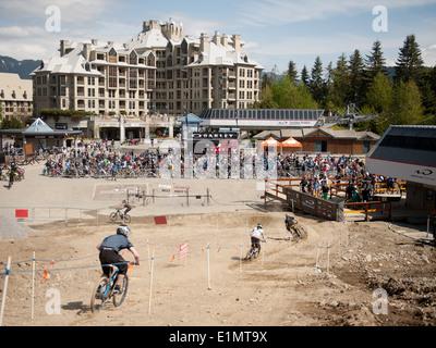 Bike riders in the Whistler Bike Park. Whistler BC, Canada - Stock Photo