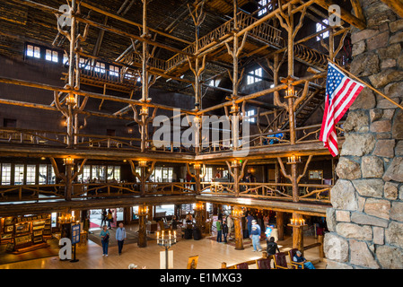 The interior of the historical old faithful inn hotel Yellowstone log cabin hotel