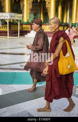 Yangon, Yangon Region, Myanmar. 7th June, 2014. A Burmese hermit monk and a regular monk walk around Shwedagon Pagoda. - Stock Photo