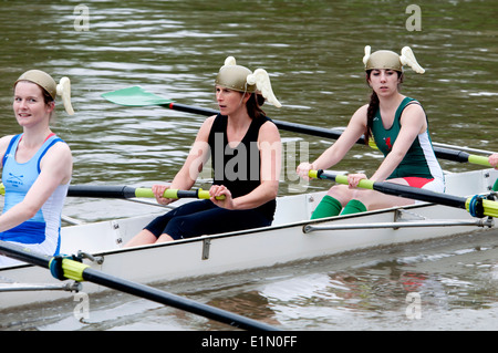 Oxford May Eights, a Jesus College ladies eight, Oxford, UK - Stock Photo