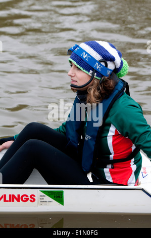 Oxford May Eights, a Jesus College cox, Oxford, UK - Stock Photo
