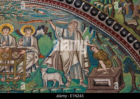 Ravenna, Ravenna Province, Italy. Mosaic in San Vitale basilica. Detail of The Hospitality of Abraham and the Sacrifice - Stock Photo