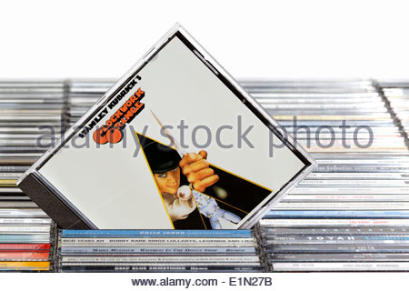 Sound track from the film A Clockwork Orange album, piled music CD cases, England - Stock Photo